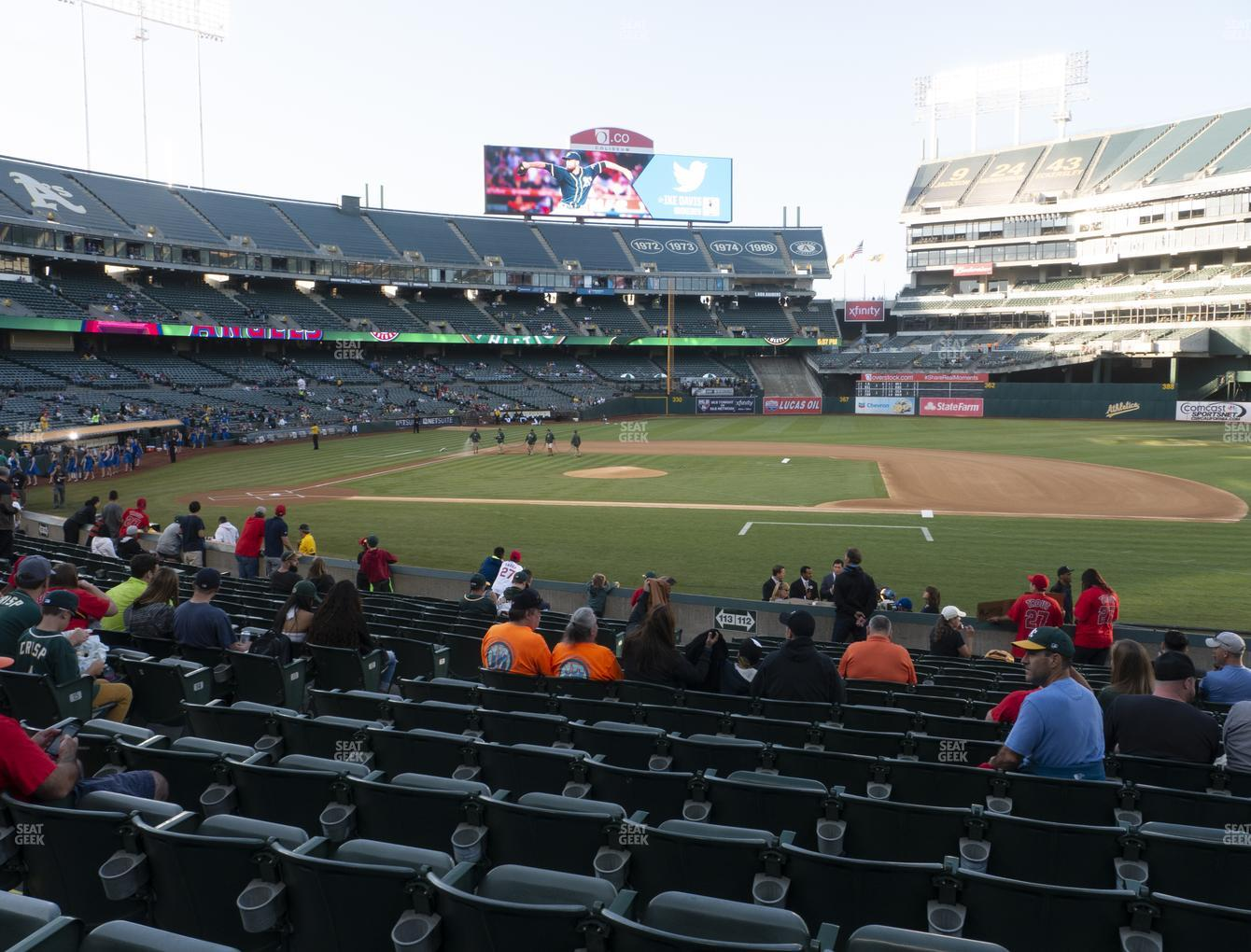 Oakland Athletics at RingCentral Coliseum Section 112 View