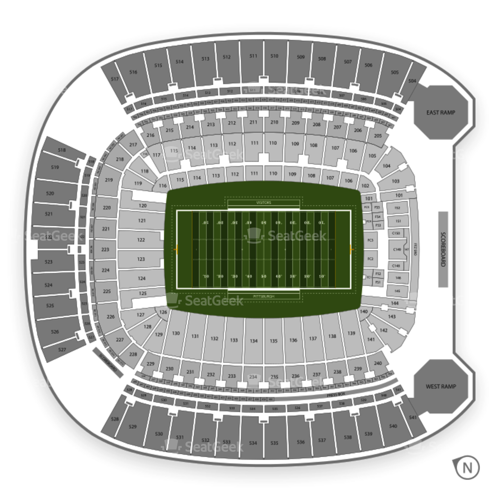 pittsburgh steelers seating chart  interactive map  seatgeek - pittsburgh panthers football seating chart