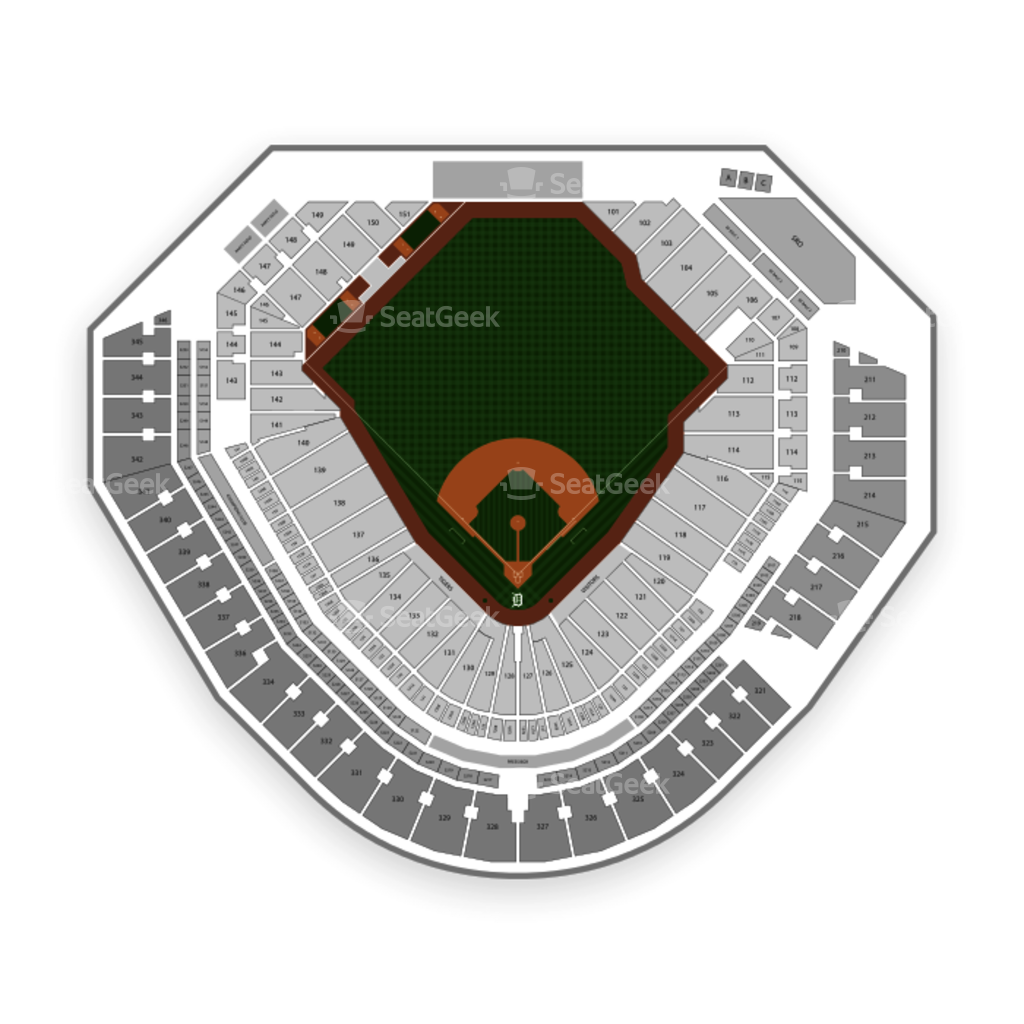 detroit tigers seating chart with seat numbers: Comerica park seating chart seatgeek