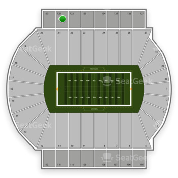 Michigan State Spartans Football at Spartan Stadium Section 121 View