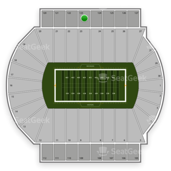 Michigan State Spartans Football at Spartan Stadium Section 123 View