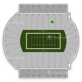 Michigan State Spartans Football at Spartan Stadium Section 25 View