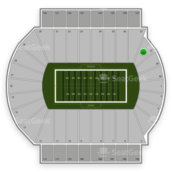 Michigan State Spartans Football at Spartan Stadium Section 28 View