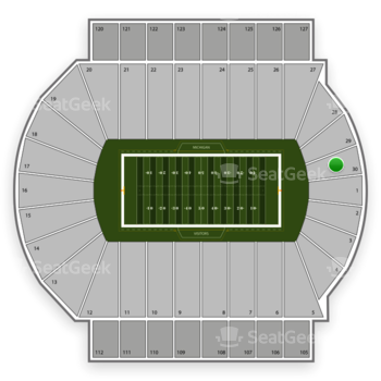 Michigan State Spartans Football at Spartan Stadium Section 30 View