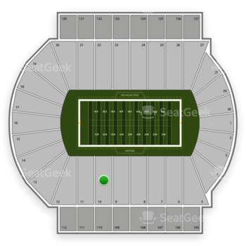 Michigan State Spartans Football at Spartan Stadium Section 10 View