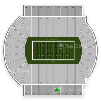 Michigan State Spartans Football at Spartan Stadium Section 108 View