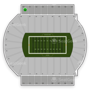 Michigan State Spartans Football at Spartan Stadium Section 120 View