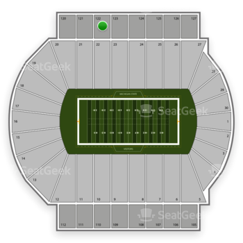 Michigan State Spartans Football at Spartan Stadium Section 122 View