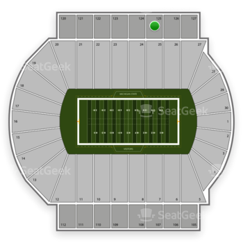 Michigan State Spartans Football at Spartan Stadium Section 125 View
