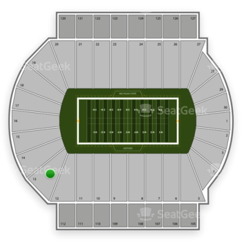 Michigan State Spartans Football at Spartan Stadium Section 13 View