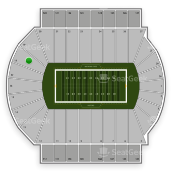 Michigan State Spartans Football at Spartan Stadium Section 18 View