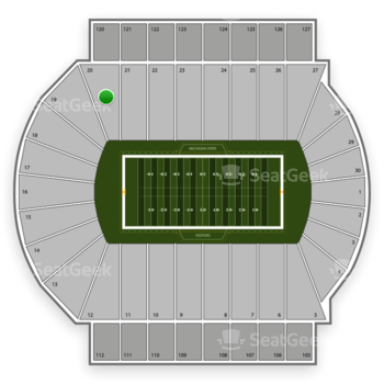 Michigan State Spartans Football at Spartan Stadium Section 20 View
