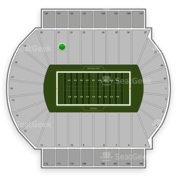 Michigan State Spartans Football at Spartan Stadium Section 21 View