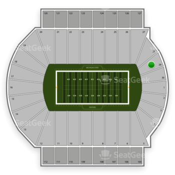 Michigan State Spartans Football at Spartan Stadium Section 29 View