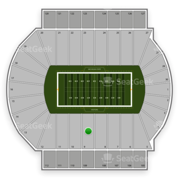 Michigan State Spartans Football at Spartan Stadium Section 9 View
