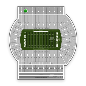 Michigan State Spartans Football at Spartan Stadium (Michigan) Section 106 View