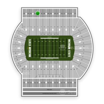 Michigan State Spartans Football at Spartan Stadium (Michigan) Section 107 View