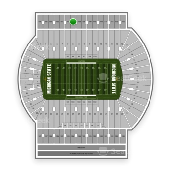 Michigan State Spartans Football at Spartan Stadium (Michigan) Section 108 View