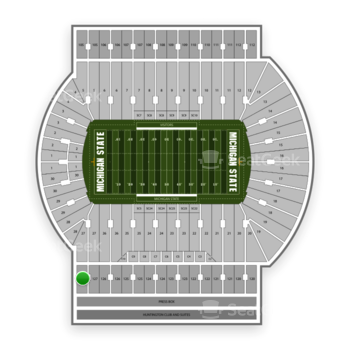 Michigan State Spartans Football at Spartan Stadium (Michigan) Section 127 View
