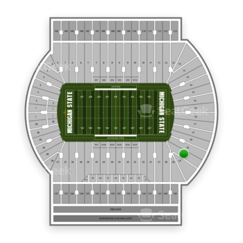 Michigan State Spartans Football at Spartan Stadium (Michigan) Section 19 View