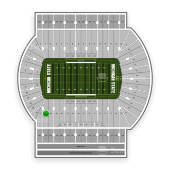 Michigan State Spartans Football at Spartan Stadium (Michigan) Section 27 View