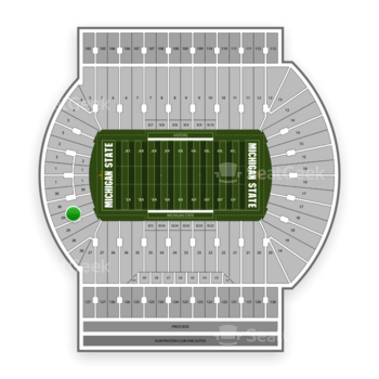 Michigan State Spartans Football at Spartan Stadium (Michigan) Section 29 View