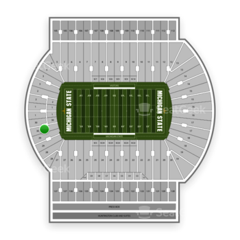 Michigan State Spartans Football at Spartan Stadium (Michigan) Section 30 View