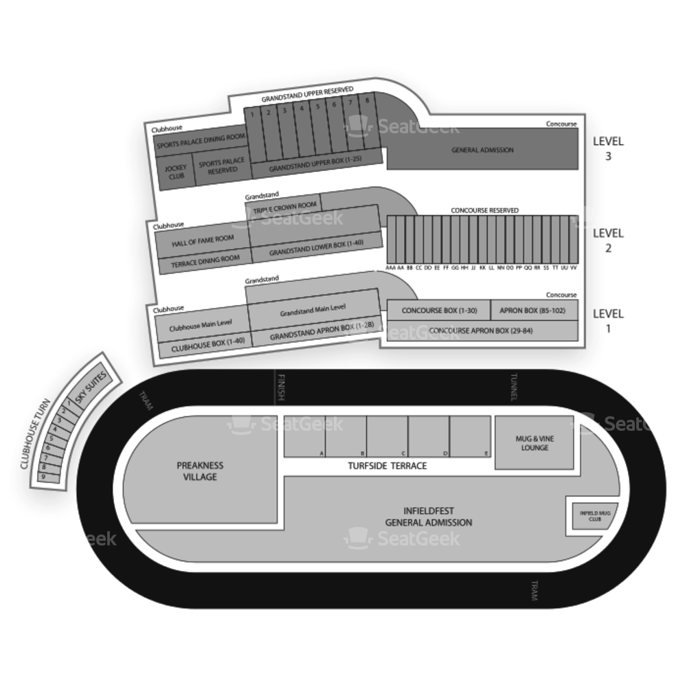 Pimlico Race Course Seating Chart Concert