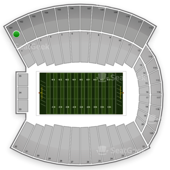 Indiana Hoosiers Football at Memorial Stadium Section 101 View