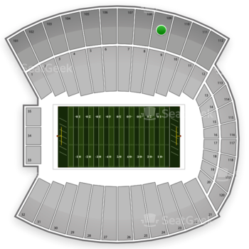 Indiana Hoosiers Football at Memorial Stadium Section 109 View