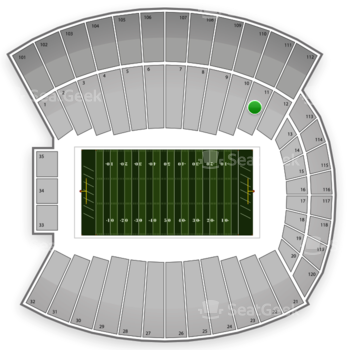 Indiana Hoosiers Football at Memorial Stadium Section 11 View