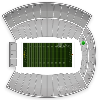 Indiana Hoosiers Football at Memorial Stadium Section 14 View