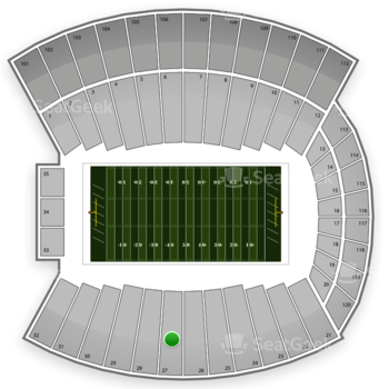 Indiana Hoosiers Football at Memorial Stadium Section 27 View