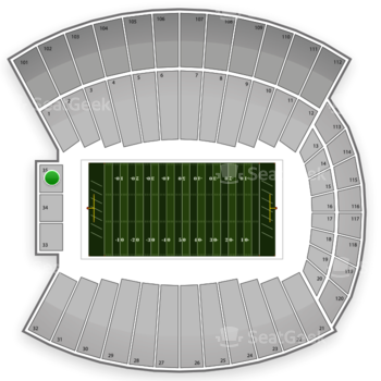 Indiana Hoosiers Football at Memorial Stadium Section 35 View