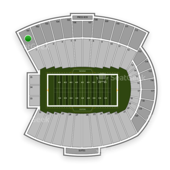 Indiana Hoosiers Football at Memorial Stadium Indiana Section 101 View