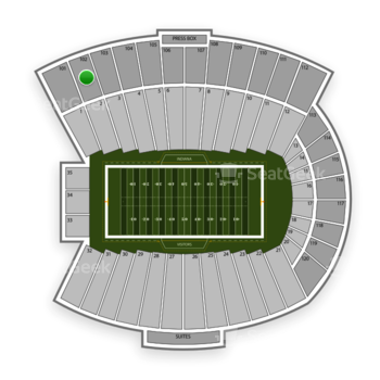 Indiana Hoosiers Football at Memorial Stadium Indiana Section 102 View