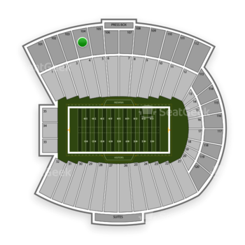 Indiana Hoosiers Football at Memorial Stadium Indiana Section 104 View