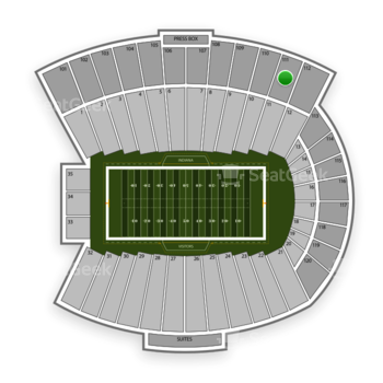 Indiana Hoosiers Football at Memorial Stadium Indiana Section 111 View