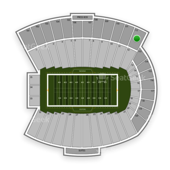 Indiana Hoosiers Football at Memorial Stadium Indiana Section 112 View