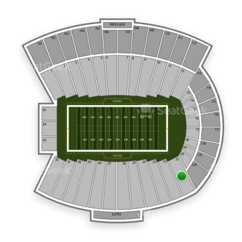 Indiana Hoosiers Football at Memorial Stadium Indiana Section 21 View