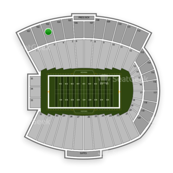 Indiana Hoosiers Football at Memorial Stadium Section 103 View