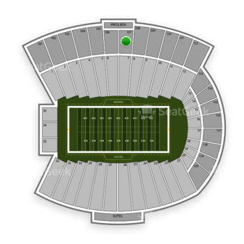 Indiana Hoosiers Football at Memorial Stadium Section 107 View