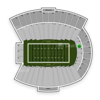 Indiana Hoosiers Football at Memorial Stadium Section 15 View