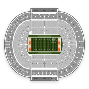 Tennessee Volunteers Football at Neyland Stadium Tt View