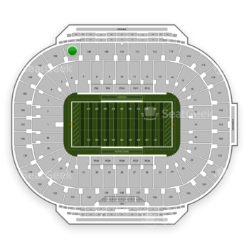 Notre Dame Fighting Irish Football at Notre Dame Stadium Section 107 View