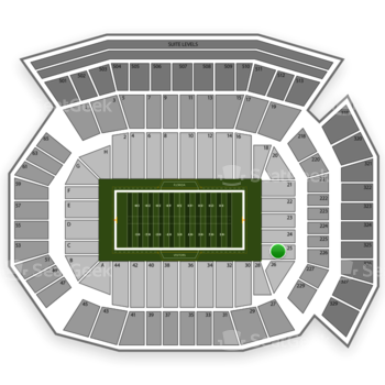 Florida Gators Football at Ben Hill Griffin Stadium Section 25 View