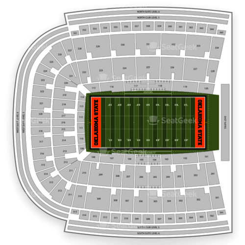 Oklahoma State Cowboys Football Seating Chart