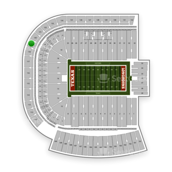 Texas Longhorns Football at Darrell K Royal - Texas Memorial Stadium Section 119 View