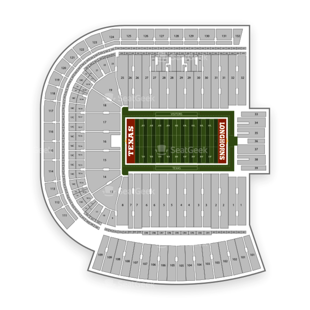 Darrell K. Royal-Texas Memorial Stadium/Jamail Field Seating Chart Parking