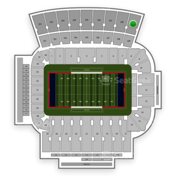 Arizona Wildcats Football at Arizona Stadium Section 209 View